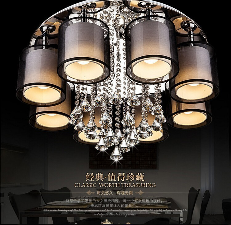 Modern minimalist diamond crystal LED E14 chandelier DIY living room fabric lampshade home deco lustre crystal lighting fixtureModern minimalist diamond crystal LED E14 chandelier DIY living room fabric lampshade home deco lustre crystal lighting fixture