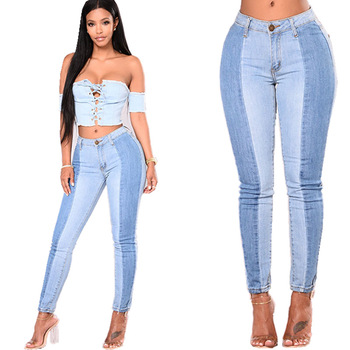 denim spliced ladies push up two twin style trousers