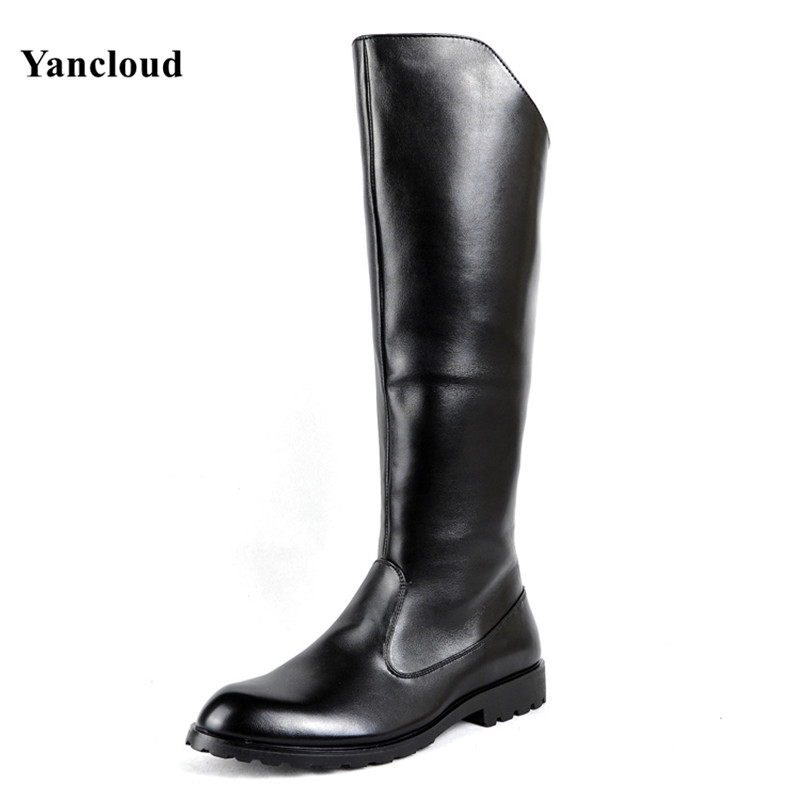 New 2017 Spring Autumn Knee High Military Boots Men Artificial Leather Motorcycle Boots Men's Long Riding Boot