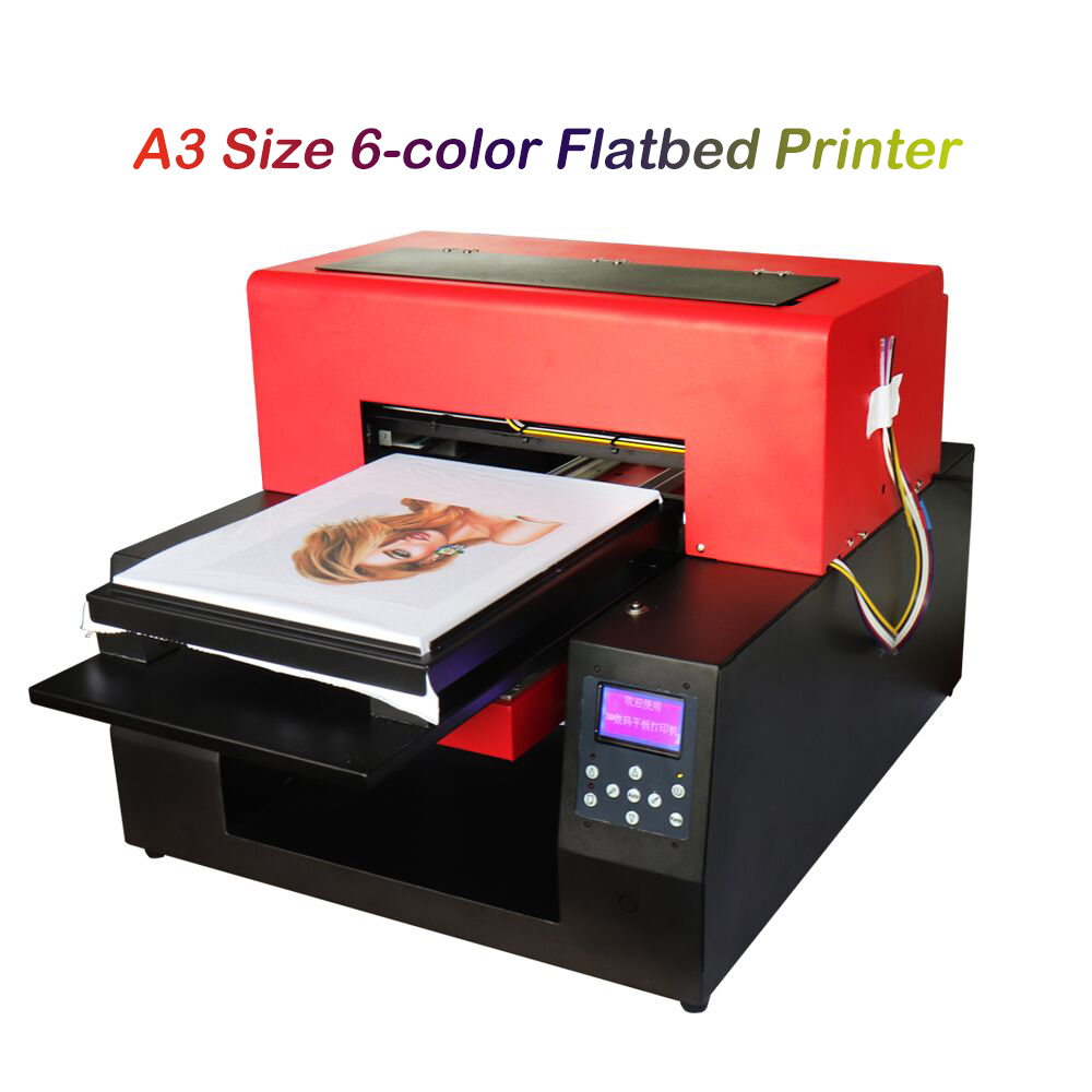 8772f3fab Automatic A3 Size 6-color Flatbed Printer T-shirt DIY Print Machine Textile Clothing  DTG Printers for White Dark T-shirt