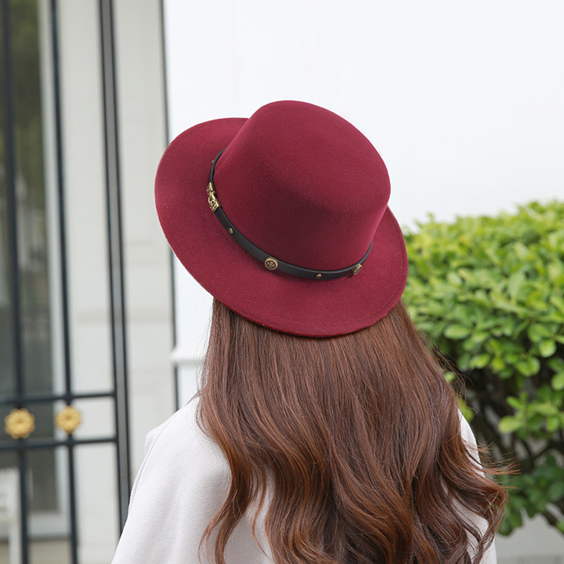 2018 New Fashion Women Winter Fedoras Hats Cashmere Polyester Blends Spring Flat Top Hats Female Gorros Cap Women Wide Brim Hats