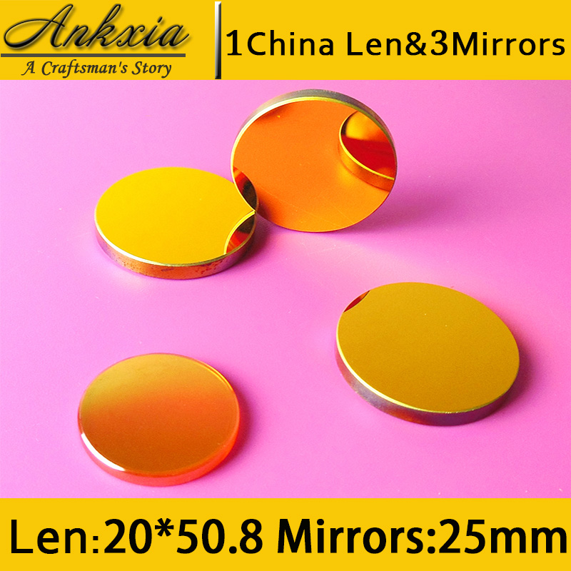 1PCS Dia 20mm Length 50.8mm China ZnSe Co2 Laser Focus Len and 3PCS 25mm Silicon Mirrors for Cutter Engraving Machine wavelength technology dia 20mm length 63 5mm znse co2 laser focus len for cutter engraving machine 0 to 170w