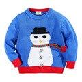 Los muchachos del niño del suéter de la historieta del muñeco de nieve bebé niños sweaters tejidos niños cardigan 2016 suéter niños suéter de la rebeca de lana