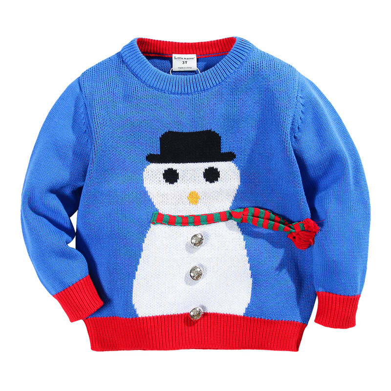 Toddler Boys Sweater Cartoon Snowman Knitted Boys Cardigan