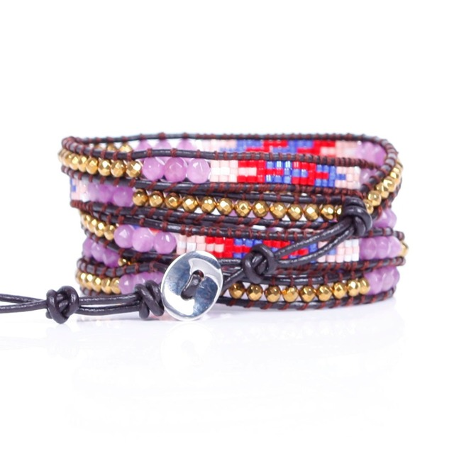 New amethyst with High quality glass beads Wrap Bracelets Leather Bracelet with Stones 5X Leather Jewelry