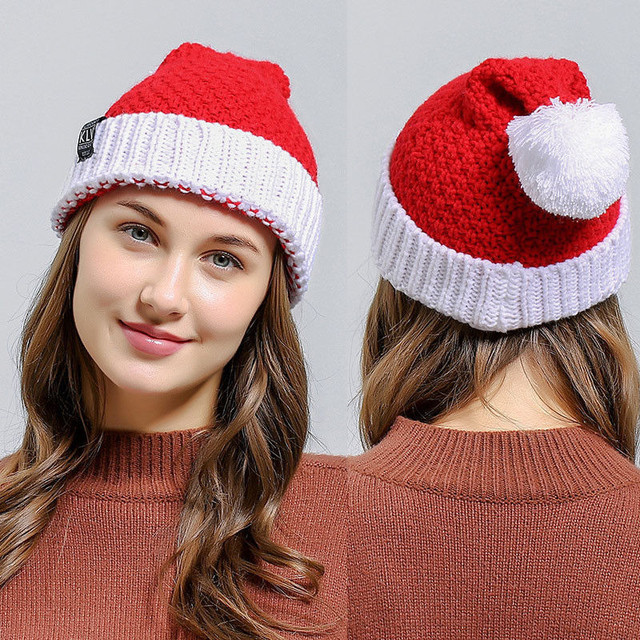 Merry Christmas Party Adults Women Santa Claus Xmas Christmas Hats Soft  Knitted Wool Christmas Hats Cap Red   White 1PC 92f51d80d2