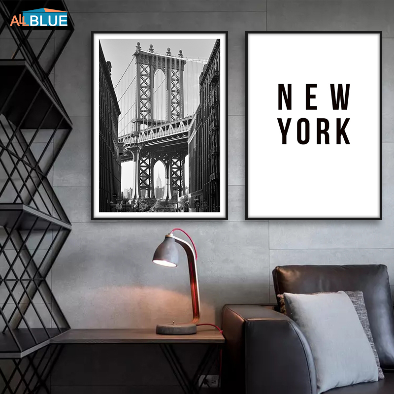 Nordic Poster New York City Black And White Brooklyn Canvas Paintings Wall Art Decoration Pictures Posters And Prints Home Decor