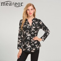 Meaneor Women Casual Loose V Neck Long Sleeve Floral Print Shirt Blouse