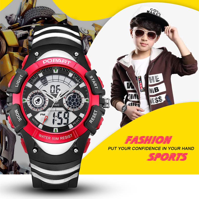 POPART Kids Watches Stopwatch Alarm 50M Waterproof LED Digital Quartz Sport Watch Children Watches For Boys Girls Wristwatches children sport watches digital wristwatches for student kids boys girls clock 2018 led electronic watches waterproof kol saati