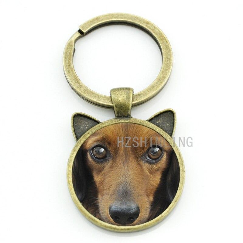 Cool pet dog Dachshund Buddy keychain men women lover jewelry vintage glass gem animal key chain ring holder CN718