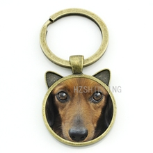 Cool pet dog Dachshund Buddy keychain men women dog lover jewelry vintage Dachshund glass gem animal key chain ring holder CN718 ботинки buddy dog