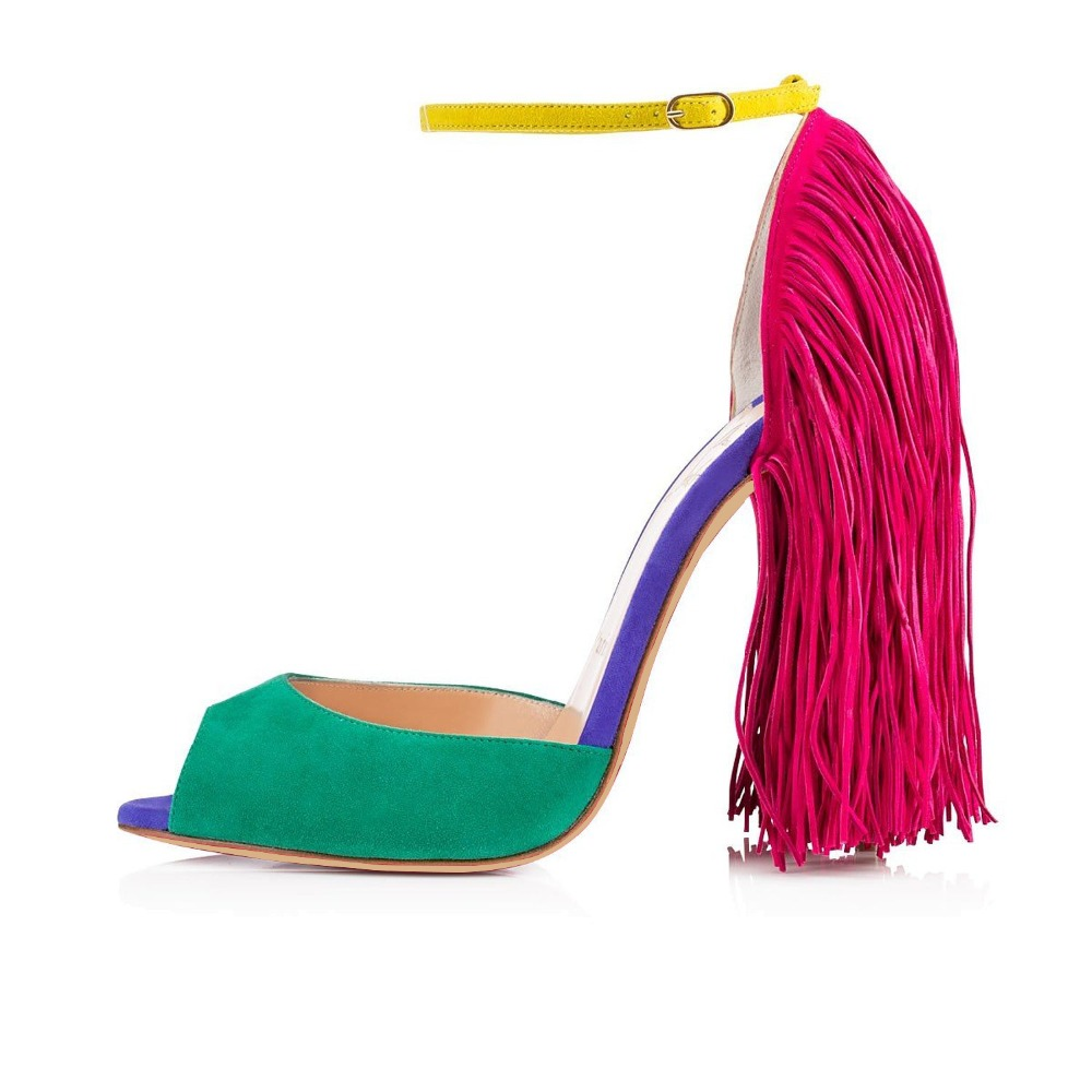 ФОТО Women Fashion 12cm Peep Toe Ankle Strap Classic High Heel Sandals with Tassel Open Toe Party Evening Dress Shoes Fringed US5-13