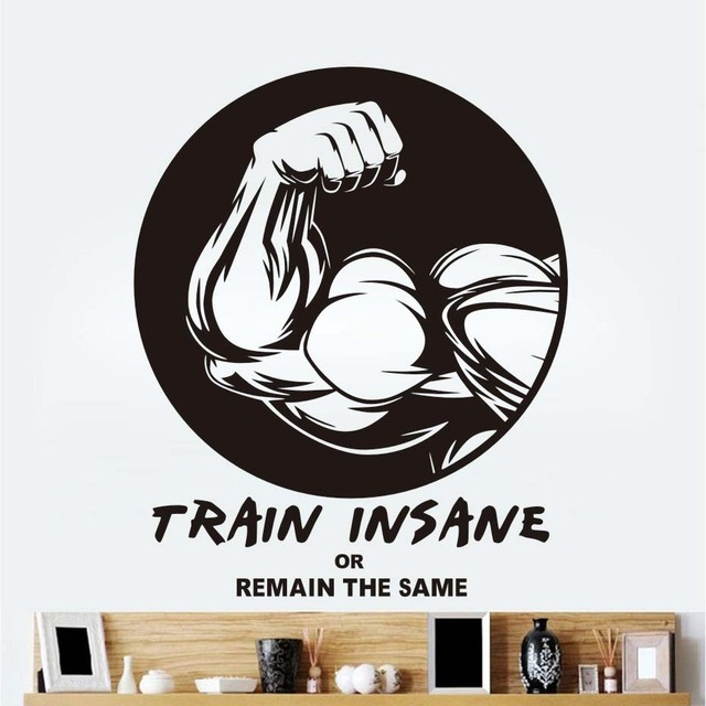 Fashion Sport Home Wall Sticker Sport Muscle Man Vinyl Decal Train Insane  Quotes Waterproof Removable Wallpaper