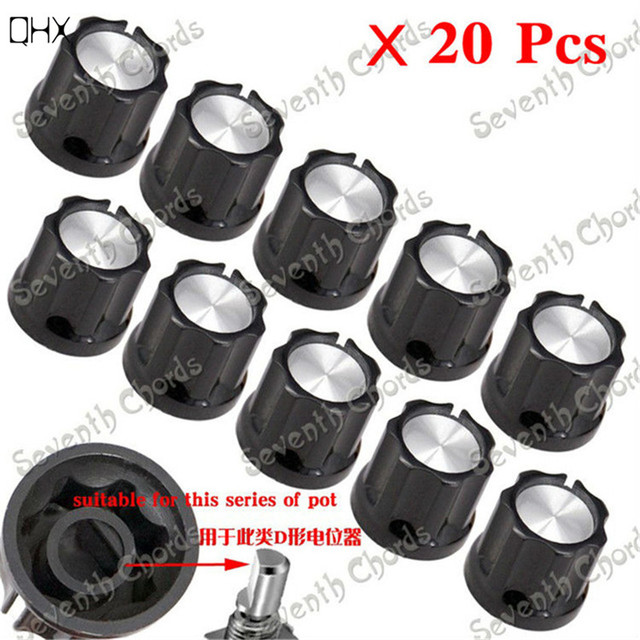 Qhx 20pcs D Shaft Speed Control Knobs Buttons For Bass Guitar Amp
