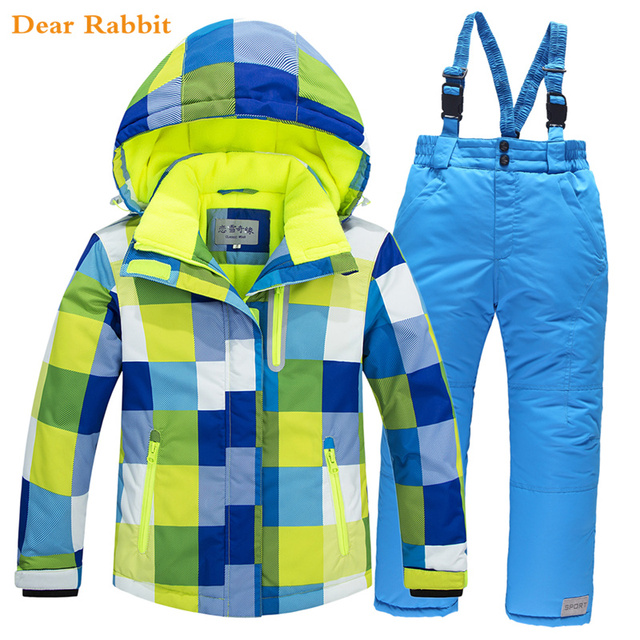 -30 degrees 2018 Children Ski Suit Set Thick Waterproof Teenage Girl Boy Cold-proof Outdoor Clothes Windproof Winter Suits Kids