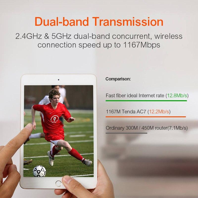 Сеть Беспроводной Wi-Fi маршрутизатор Tenda AC7 11AC 2.4GHz / 5.0Ghz Wi-Fi ретранслятор 1 * Wan + 3 * LAN порта 5 * 6dbi антенна (Фото 1)