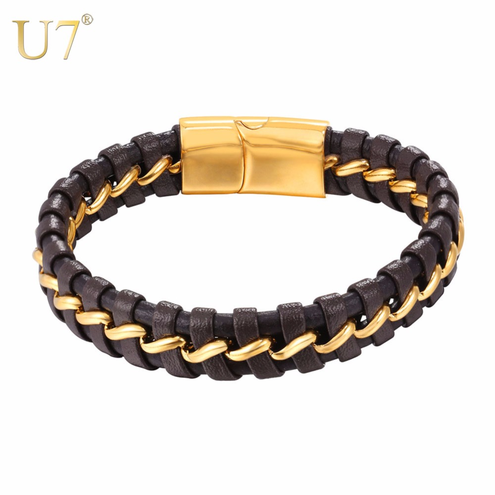 U7 Bracelet Stainless Steel Magnetic Buckle Genuine Men Braided Leather Bangle Punk Wrist Charm For Men Jewelry Bracelets H1037