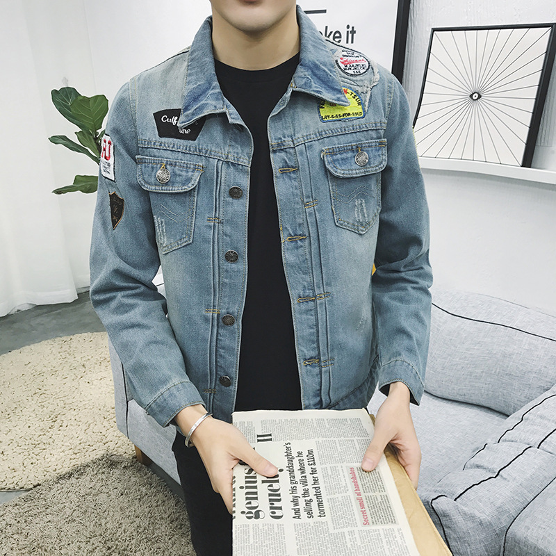 Fashion 2019 Spring Autumn Casual Cowboy clothing male Teenagers Single Breasted Denim Patchwork Slim Fit Jacket Men coat in Trench from Men 39 s Clothing