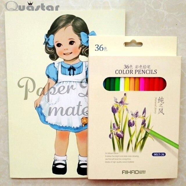 Linda chica libro para colorear + 36 lápiz para adultos niños ...