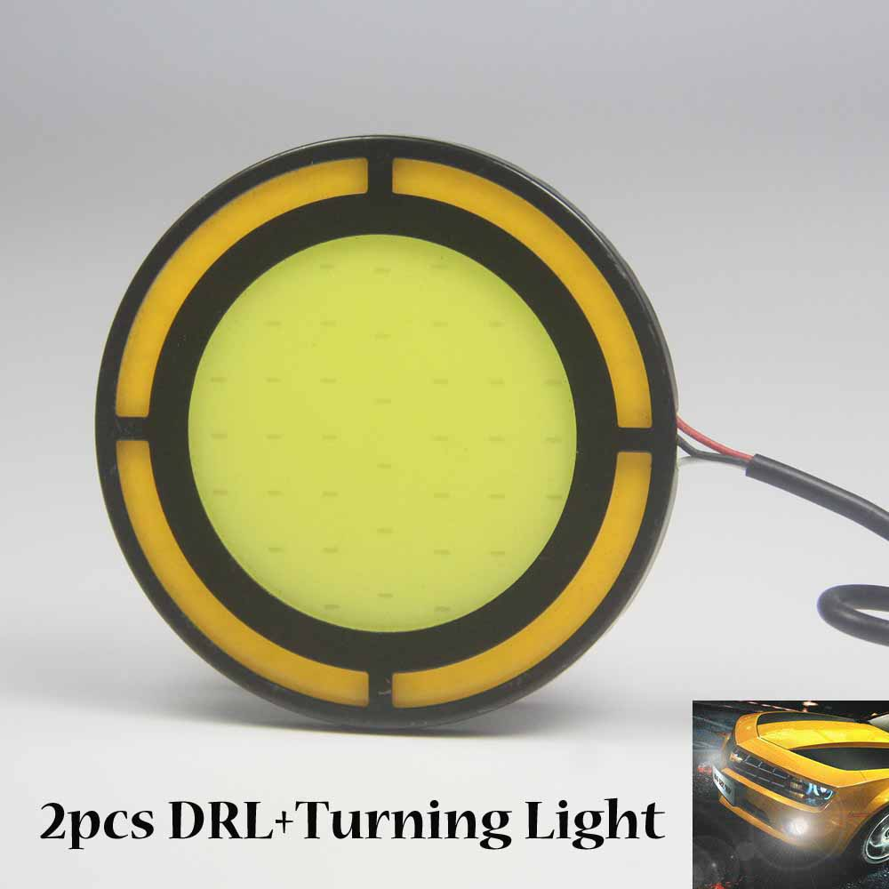 4PCS 73MM LED COB DRL Daytime Running Lights DC12V External - Car Lights