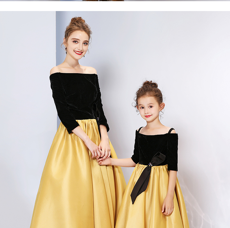 Mother Daughter Dresses Wedding Ball Gown Off Shoulder Golden Color Tutu Skirt Mommy and Me Clothes Family Look Matching Outfits - 3
