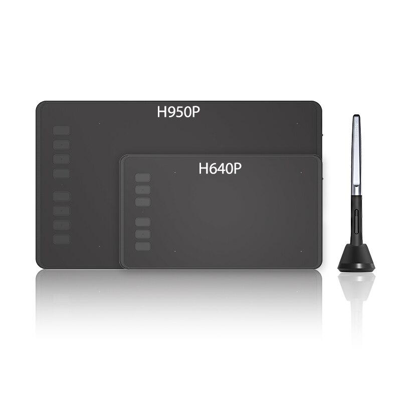 HUION ultraligero tabletas gráficas tableta Digital dibujo de la pluma de la tableta con la batería-lápiz óptico gratis para Mac y Windows. H640P /H950P