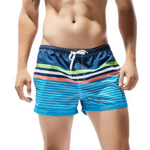 Newly Design Mens Summer Blue Striped Breathable Beach Board Shorts Swimwear Bath Trunks 80425(China)