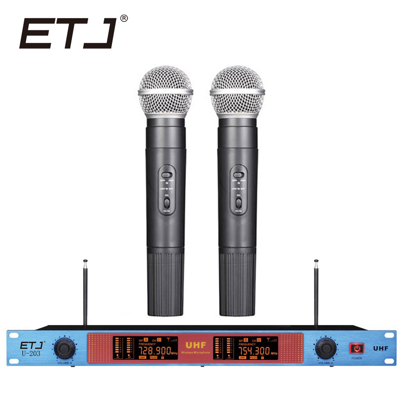 ETJ Brand Professional Wireless Microphone Changable Handheld Bodypack Headset Lavalier Microphone U-203 etj brand wireless vhf changable handheld bodypack headset lavalier microphone dual wireless microphone u 201