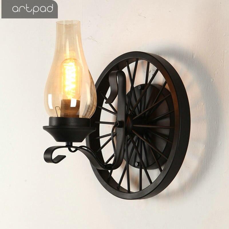 American Vintage Wall Lamps Kerosene Lamp 2 Heads E27 Edison LED Indoor Wall Light for Home Living Room Restaurant Lighting in LED Indoor Wall Lamps from Lights Lighting