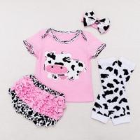 2018 Summer Wear New Pattern Children's Garment 0 2 Year Baby Cow Printing Kazakhstan Clothing Shorts Suit