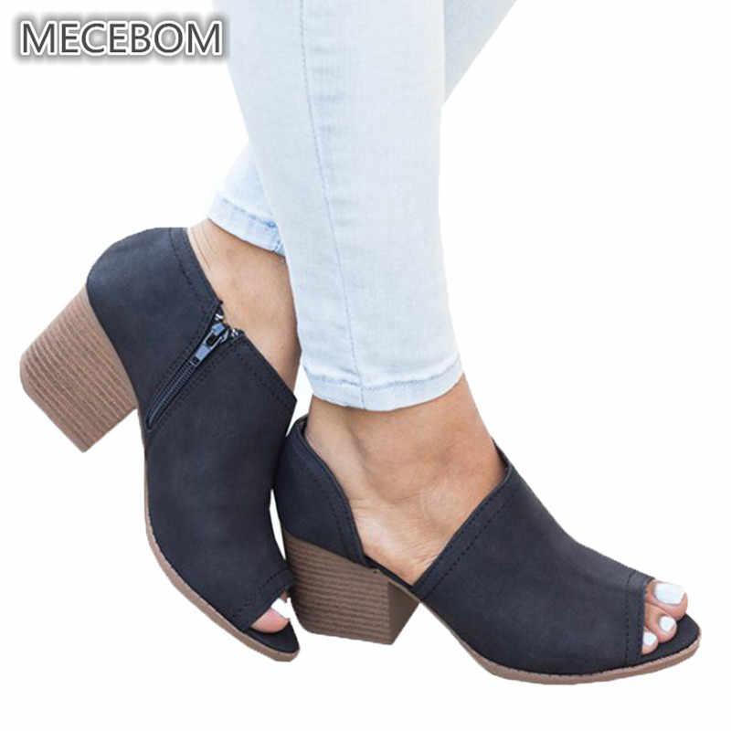 Seksi bahar kadın yarım çizmeler ayakkabı rahat deri Vintage yüksek kalın topuklu burnu açık Antiskid alt fermuarlı bayan sandalet 1530W