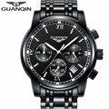 GUANQIN Новый Бренд Luxury Business мужские Часы Полный Нержавеющей Стали Кварцевые Часы Полная Функция Моды Лучший Подарок Часы для Мужчин
