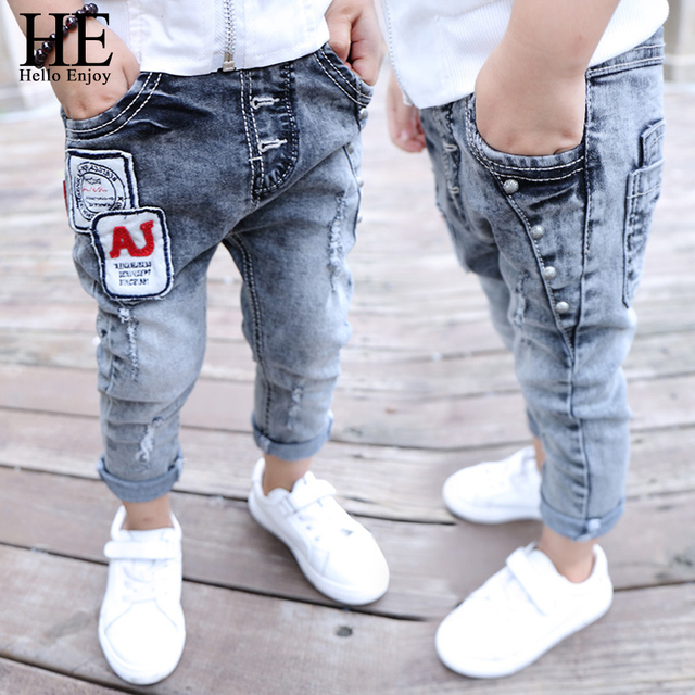 HE Hello Enjoy Jeans Children Boys Ripped Jeans Kids Denim Pants Baby Casual Jean Infant Boys Brand Slim Fit Pants Kids Trousers