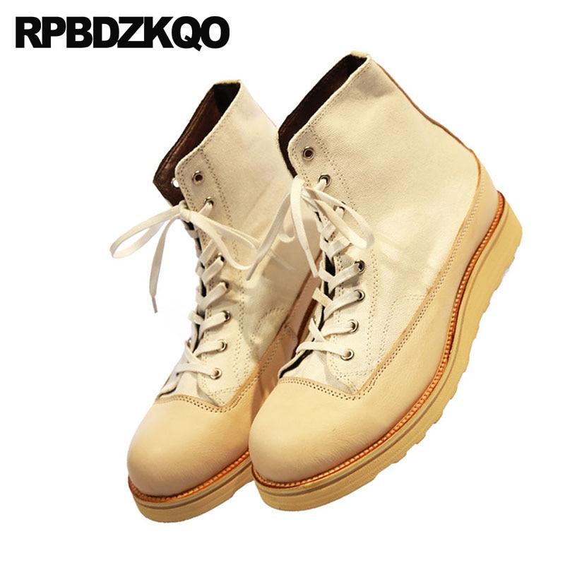 Cuña Yellow Grano Hombres Italiano Europea 2018 Zapatos De Encaje Otoño Tobillo Botas Corto Lona Pista Cuero Completo qafT8H