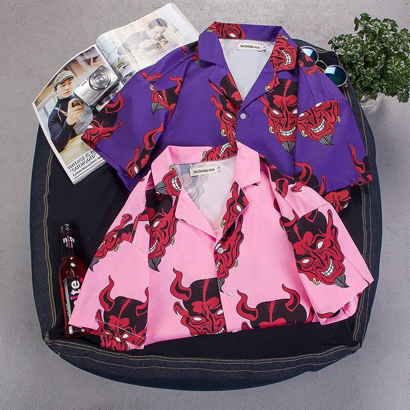 hip hop streetwear shirts men Devil Full Printing short sleeve summer floral rapper harajuku hawaiian korean shirts camisaS-8