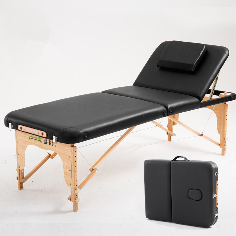 70cm Wide 3 Fold Portable Massage Table Hardwood Frame Adjustable Spa Bed Tattoo Beauty Salon Furniture Folding Message Bed
