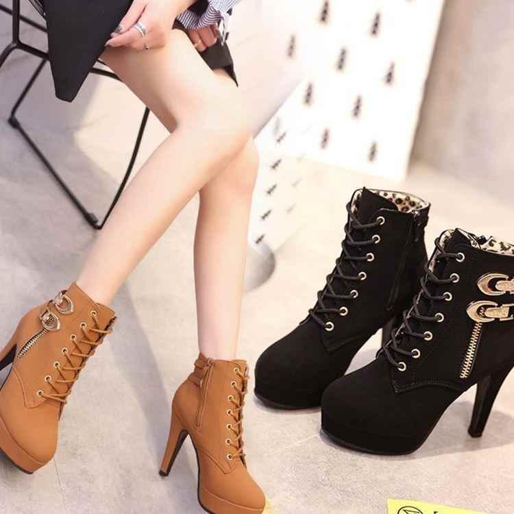 Осенне-зимние Ботинки martin на шнуровке; водонепроницаемые ботинки на платформе и шпильке; женская обувь на ультравысоком каблуке; женские ботинки с ремешком и пряжкой