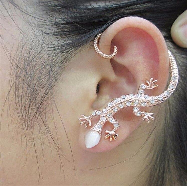 Korean Exaggerated Bijoux Lizard Stud Earrings For Women Gecko Earrings Rhinestone Earings Fashion Jewelry Brincos Oorbellen