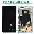Para nokia lumia 1020 pantalla lcd con pantalla táctil digitalizador asamblea con marco de reemplazo de piezas de color negro
