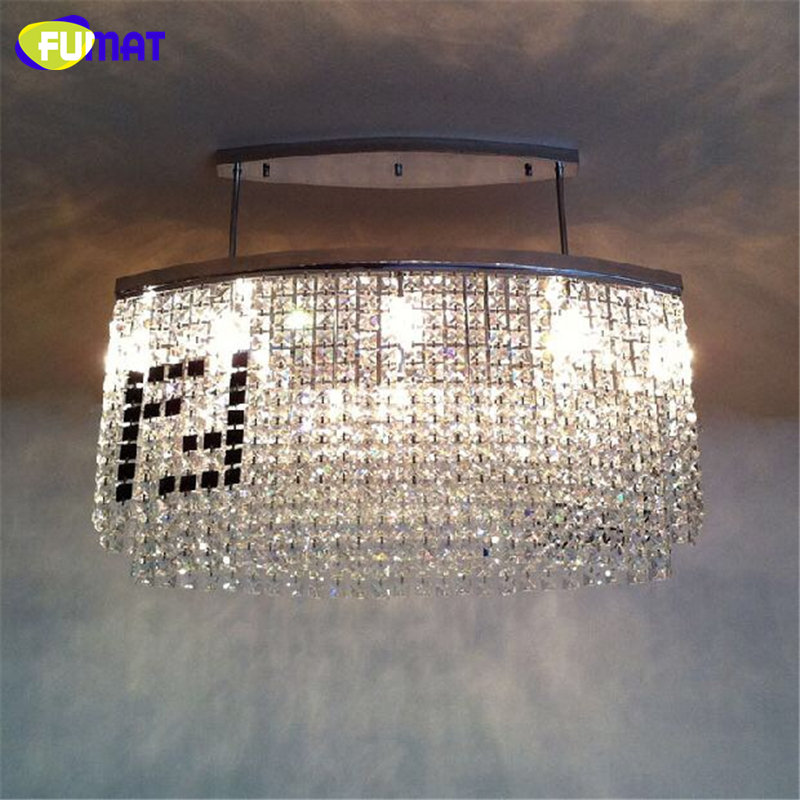 FUMAT Rectangle K9 Crystal Chandelier Modern Fashion Creative K9 Crystal Light For Living Room Brief Lustre Hotel LED Chandelier