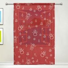 Christmas Voile Curtains Snowman Printed Curtain For Bedroom And Living Room Window Red Sheer