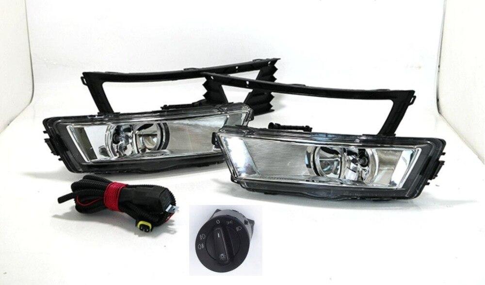 Osmrk противотуманные фары лампы 2шт решетки,жгут проводов, переключатель фар полный комплект для Шкода Рапид