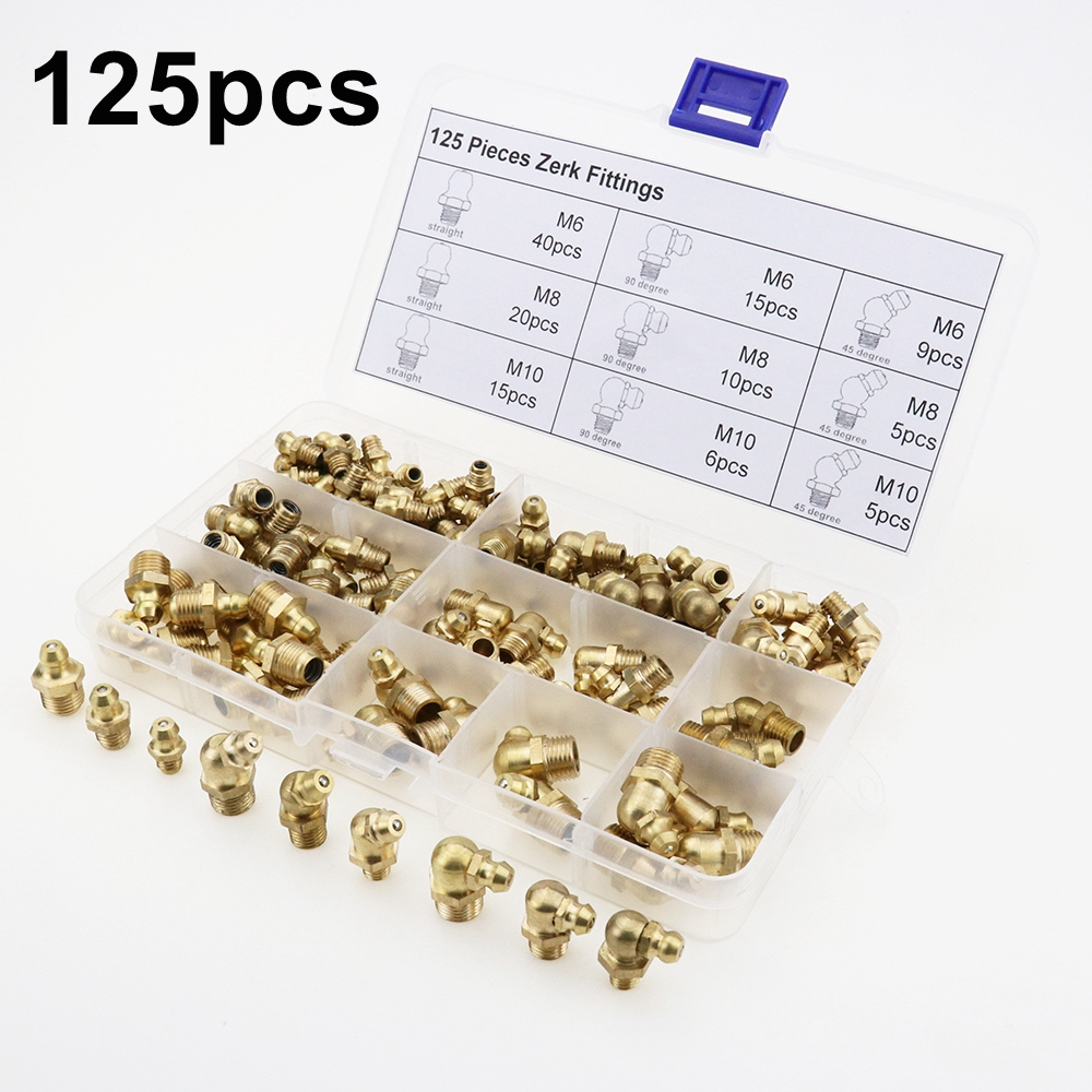 125pcs Brass Zerk Grease Nipple Fitting Assortment Kits(M6/M8/M10)