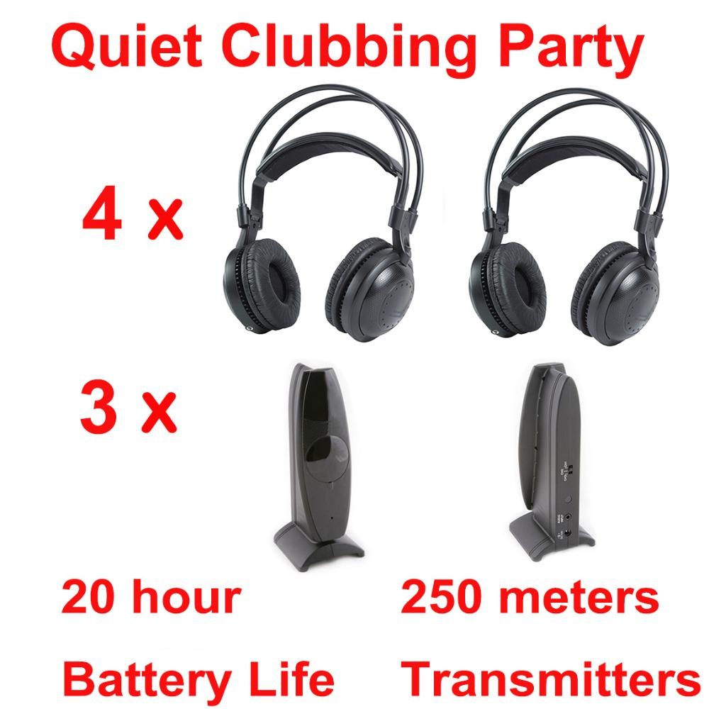 Professional Silent Disco compete system wireless headphones - Quiet Clubbing Party Bundle (4 Headphones + 3 Transmitters)Professional Silent Disco compete system wireless headphones - Quiet Clubbing Party Bundle (4 Headphones + 3 Transmitters)