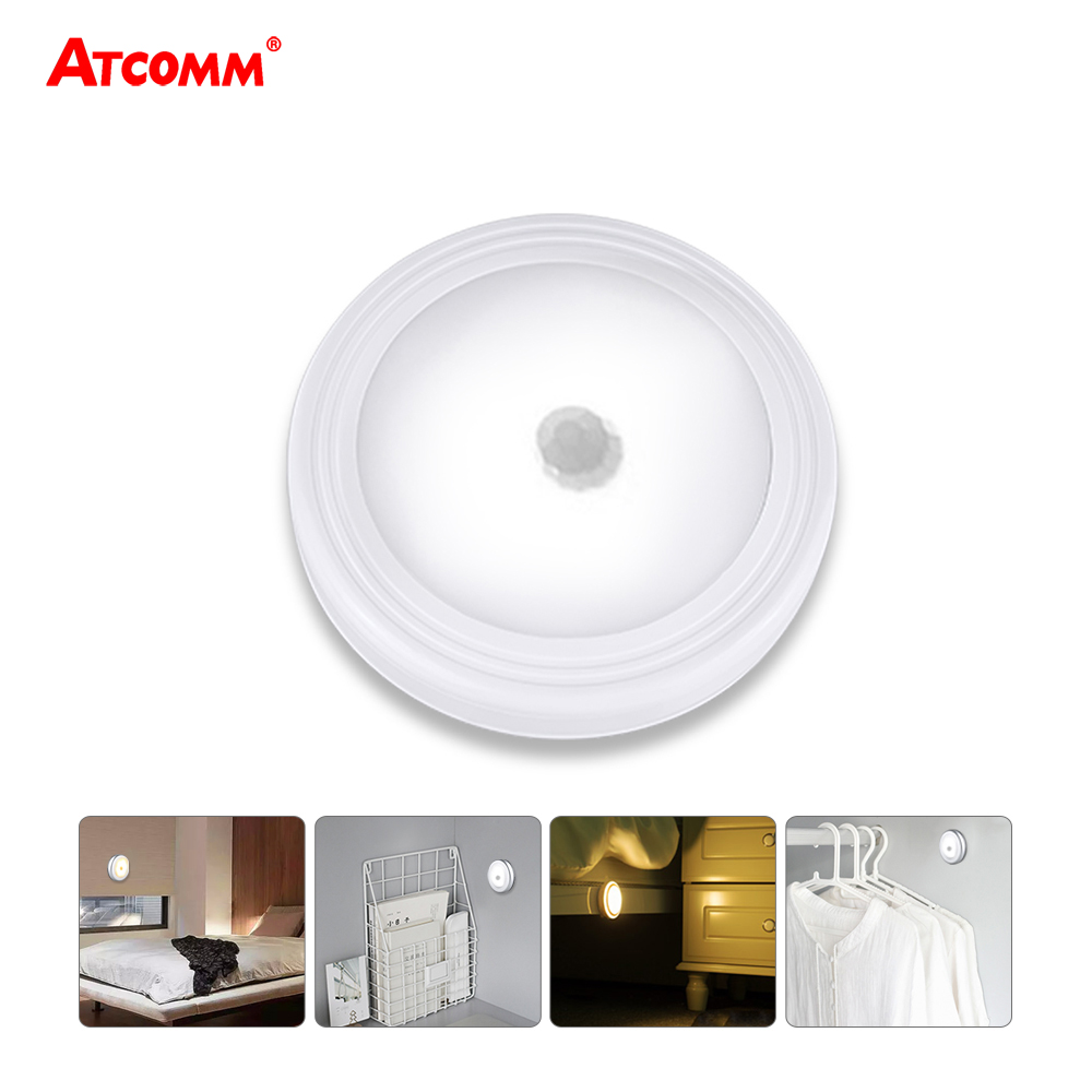 PIR Motion Sensor LED Under Cabinet light Auto OFF/ON Magnetic Diode Night Lamp 3 AAA Battery Powered Wireless Silver/White Under-cabinet lighting