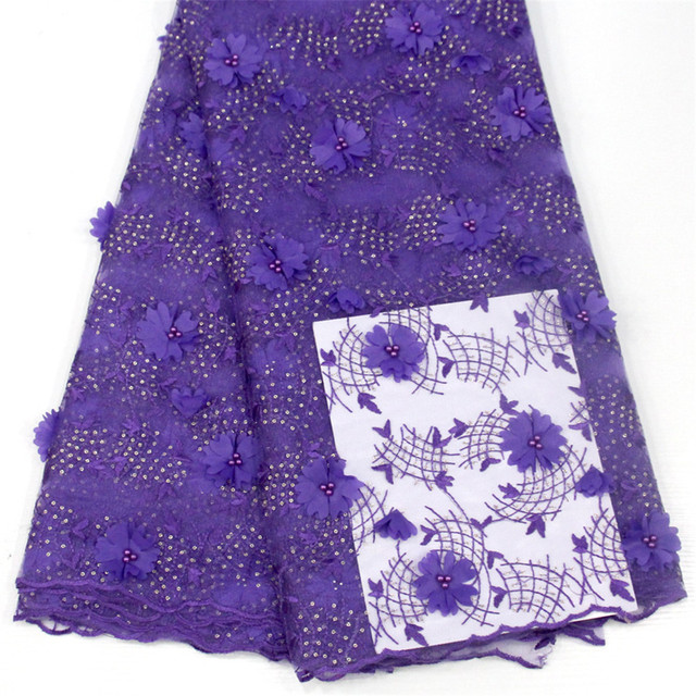 2018 High quality african french 3d lace fabric stones Embroidered African Guipure French Lace Fabric for party dresses H152-2