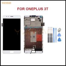 """YUEYAO Para Oneplus A3010 3 T Pantalla LCD Táctil Digitalizador Asamblea Para 5.5 """"OnePlus 3 T LCD Con pieza de Recambio de Frame + Herramienta"""