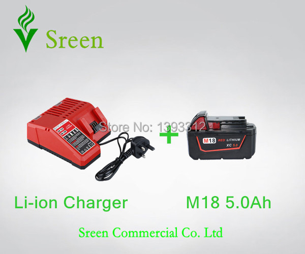 5000mAh 18V Rechargable Lithium Ion Power Tool Battery Packs with Charger Replacement for Milwaukee M18 XC 48-11-1828 M18B Li18 power tools replacement li ion battery charger electric screwdriver lithium ion battery charger for milwaukee m12 m18 ac110 230v