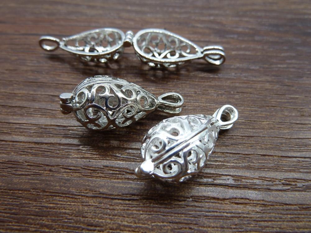 Mermaid Teardrop Lockets -3pcs Lucky Magic Wish Box Silver Locket Charm Pendants 12x28mm c7565 locket