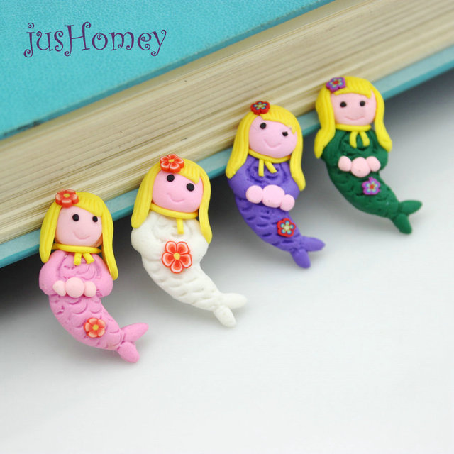 50pcs Kawaii Fimo Clay Mini Mermaid Craft Cabochons Diy Cartoon Seas Theme Home Decor Ornament 32mm